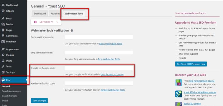 Google Search Console - WordPress