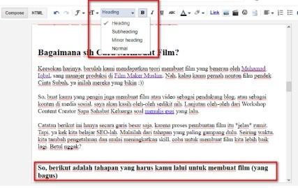 subheadings artikel di Blogspot